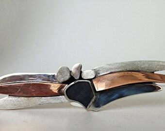 Unique silver and copper brooch