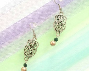Owl dangle champagne pearl earrings. 2.5 inch light weight/elegant/formal/party/work/casual