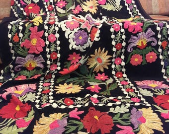 Uzbek  rare vintage silk velvet embroidery suzani.Tablecloth, Wall hanging, Bedspread,Bedcover.