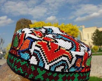Traditional uzbek headwear Duppi cap, skullcap.