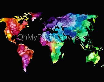 Watercolor World Map Digital Download