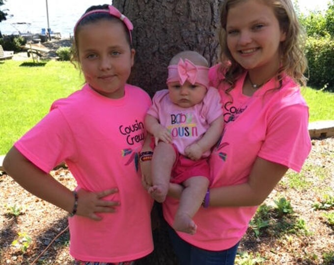 Cousin shirts,Baby Cousin bodysuit,Pink sibling shirts,Cousin Crew shirts,Hot Pink shirt girl shirt,Light Pink bodysuit,New baby bodysuit