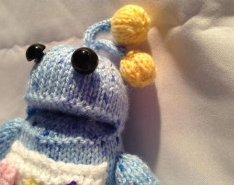 Hand Knitted Toy / Blue Alien / Robot / Stocking Stuffer / Filler / Gifts under 10