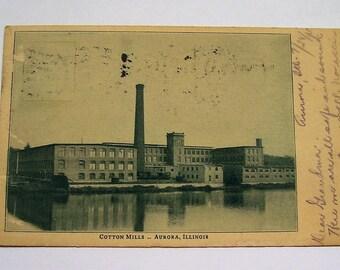 1905 Photograph Postcard - Cotton Mills, Aurora, Illinois