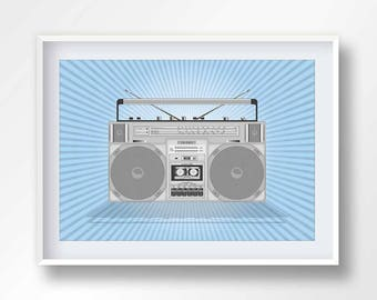 BOOMBOX poster, vintage boom box, 80s music illustration, retro stereo, old school cassete, hip hop printable, ghettoblaster, #2145