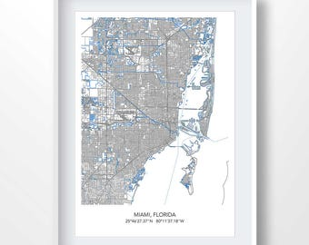 Miami Map Etsy - Florida towns map