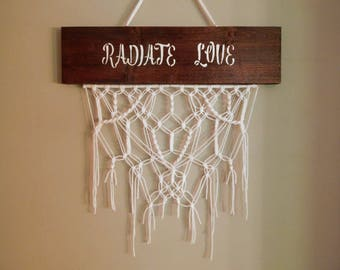 Macrame Wall Hanging, Radiate Love Sign, Wood Stain Sign, Boho Wall Hanging, Wall Tapestries, Hippie Decor, Fiber Art, Weaving, Home Decor