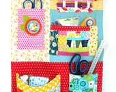 Handmade Fabric Wall Storage Hanger with Patchwork Pockets for Nursery Kids Bedroom or Craft Room Office Storage Idea Gift for New Mum Mom