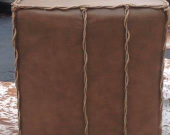 Custom made leather ottoman, one of a kind,