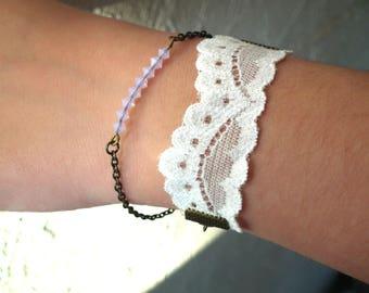 Double strap lace and white swarovski pearls