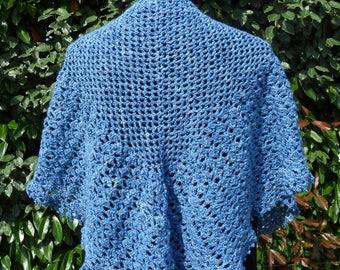 Denim Blue crochet shawl