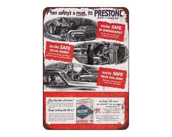 "1949 Prestone Anti-Freeze - Vintage Look Reproduction 9"" X 12"" Metal Sign"