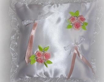 'love' in white Duchess satin ring pillow