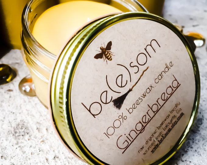 100% Pure Beeswax Gingerbread scented 3oz jar candle