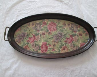 Vintage Mahogany Wood & Glass Dresser or Vanity Tray