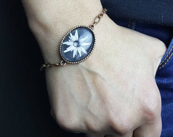 Black and White Flower Photo  Bracelet with Magnetic Clasp Flower Bracelet Wildflowers Photo Jewelry Floral Jewelry Nature Jewelry