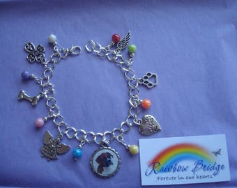 Personalised Rainbow Bridge bracelet. Gift boxed