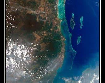 Belize Satellite Poster Map