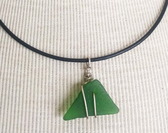 Green Sea Glass Necklace/Pendant/Triangle/Sterling Wire Leather/Jewelry/Urban Boho/Elegant Funk/Maine/Sea Swag