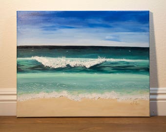 Ocean Wave Original Acrylic Painting on 16 x 20 Canvas, Wall Art
