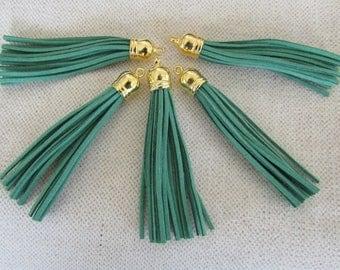 5 Green Tassels with Gold Cap - Large Tassel - 85mm Long Tassels - Purse Tassel Pendant - Key Chain Tassel - Tassels for Jewelry Wholesale