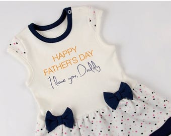 LATE SHIP SALE Happy Fathers Day, I love you Daddy, Baby Girl Bodysuit Dress, Navy Blue/Cream/Polka Dots Bodysuit Dress, Fathers Day Baby Gi