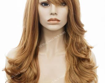 Long Curly/Wavy Full Fringe/Bangs Strawberry Blonde with Golden Brown Low Lights Full Wig-Stacy