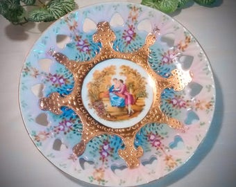 Antique KPM Pierced Plate with Fragonard-Style Courting Scene – Heart Piercings
