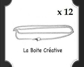 12 CHAINS MESH 46 CM WITH METAL CLASP SILVER