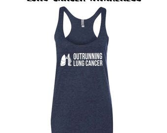 Lung Cancer Workout Tank - Lung Cancer Runner - Tennis Shoes Lungs - Lungs with Ribbon - Run For a Cure - Cancer Awareness - Running Tank