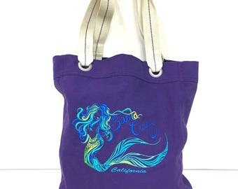 Mermaid Eve Embroided Canvas Tote