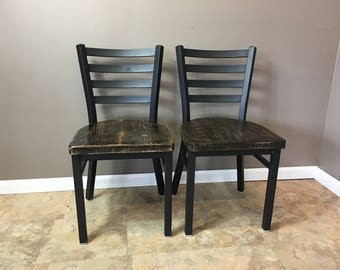 Reclaimed Dining Chair  Set of 2   Flat Black Metal Finish   Ladder Back Metal   Restaurant Grade -18 Inch High Dining Chair