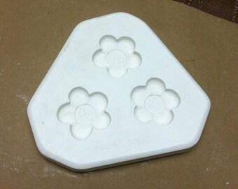 Vintage Soft Sculpture Flower Magnets Porcelain Ceramic Mold D242 Dona's A5