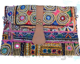 Banjara old Hippie Chic fabric & leather pouch Bohemian India 7 30x20cm