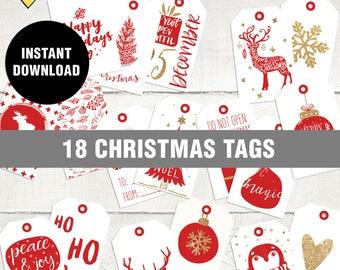 Red christmas tag, Christmas gift tag, , Digital red christmas tag, Printable christmas tag, Red and White christmas label