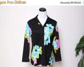 25% OFF VTG 70s Floral Hippie Boho Polyester Blouse Top M/L