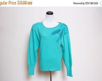 25% OFF VTG 80s Blue Turquoise Hipster Flower Beaded Sweater S/M