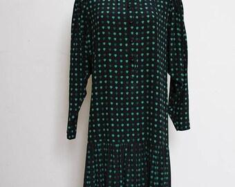 25% OFF VTG 80s Black Green Heart Pleated Cute Grandma Hipster Dropwaist Dress L
