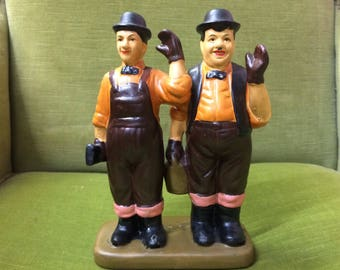 Laurel and Hardy Figurine, Stan Laurel, Oliver Hardy, Comedy Gift, Vintage Ornament, Gift for Him.