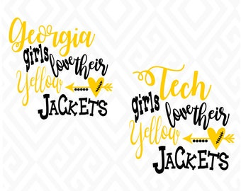 Georgia/Tech Girls Love Their Yellow Jackets; SVG, DXF, Eps, Ai, Png, Jpeg and Pdf Digital Files for Electronic Cutting Machines