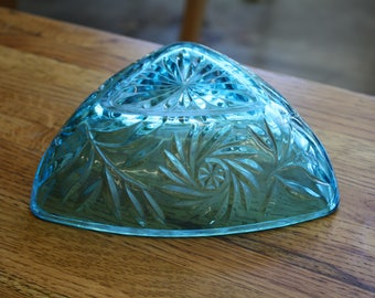 Hazel Atlas Blue Glass Triangle Candy Dish