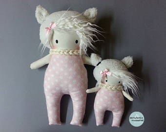 Small and large rag doll, art doll, plush