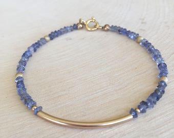 Delicate Iolite and 14 K Gold Tube Beaded Bracelet. Faceted Gemstones. Gold Bar Bracelet. Minimalist. Stacking Bracelet.