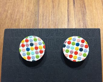 Wood Embossed Colourful Dot Earrings