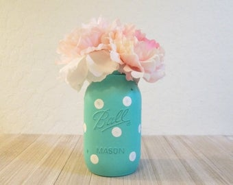 SUMMER SALE Polka Dot Mason Jar - Turquoise and White Quart Ball Jar - Baby Shower Centerpiece - Polka Dot Decor - Mason Jar Painted