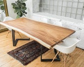 Live Edge Dining Table | Contemporary Dining Room | Guanacaste Wood |  Scandinavian Style | Modern Rustic Industrial | Perota Wood