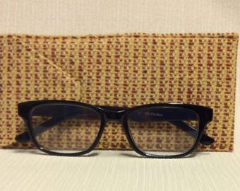 Welsh tweed glasses/spectacles case in yellow with dark red stripe