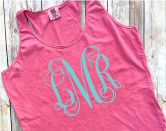 Comfort Colors Racerback Tank Top, Front and Back Monogrammed Tank, Racer Back Tank Top, Ladies Comfort Colors Tank Top, Custom Tank