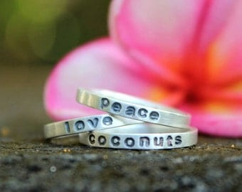 Three Favorite Words Rings - peace, love, coconuts stacking set