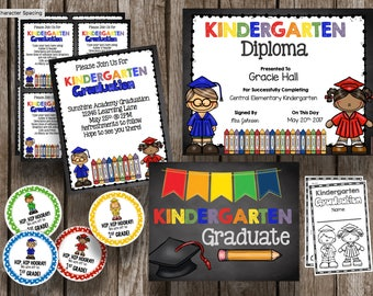 50% OFF SALE Kindergarten Graduation Pack - EDITABLE - Diplomas - Banner - Decor - Invitations - Poster - Favors - Cupcake Toppers